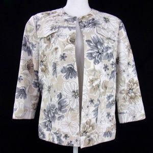 Alfred Dunner Floral Blazer Size 12P Beige/White